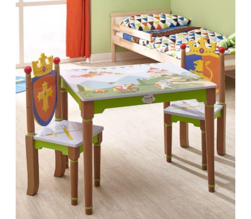 Kindertafel En Stoel Met Opbergruimte.Houten Kindertafel Met 2 Stoeltjes Ridders En Draken