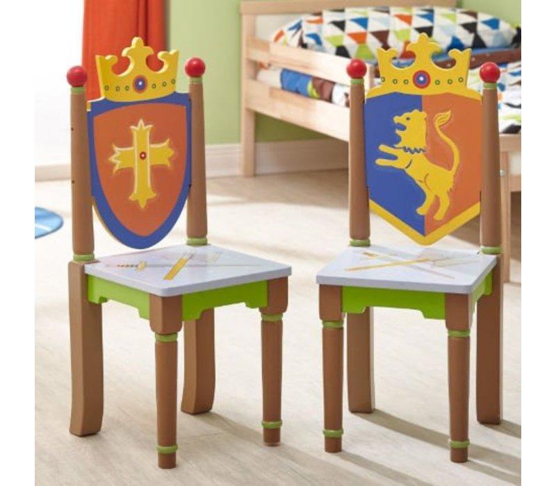 Houten kindertafel met 2 stoeltjes - Ridders en Draken