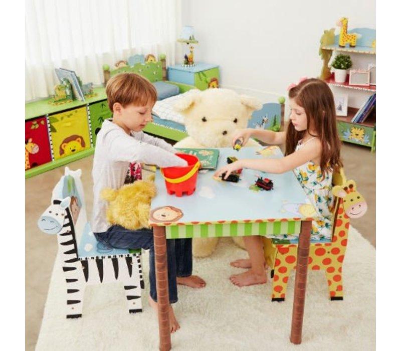 Houten kindertafel met 2 stoeltjes - Magische Tuin