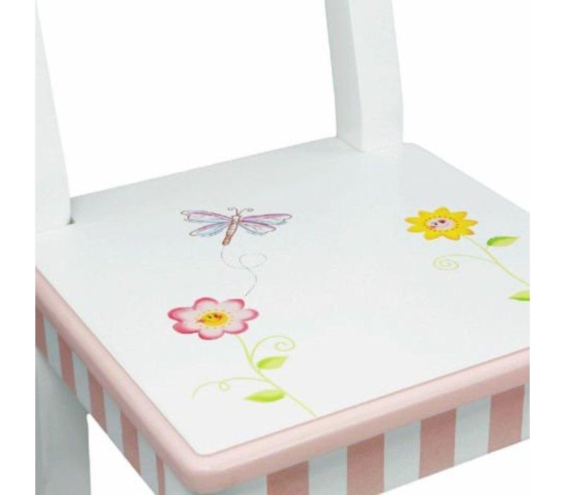 Houten kindertafel en 2 stoeltjes Prinses en de Kikker