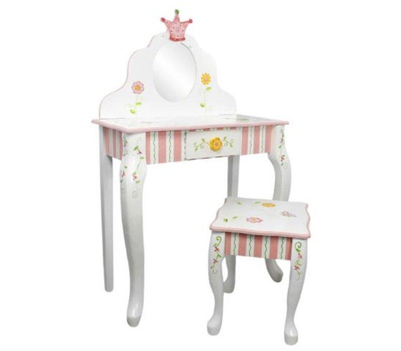 Houten kaptafel met kruk Prinses en de Kikker