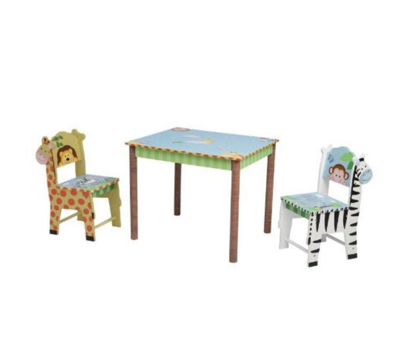 Houten kindertafel met 2 stoeltjes Zonnige Safari