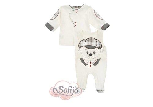 2-Delige babykledingset  - Aron - ecru met grijs