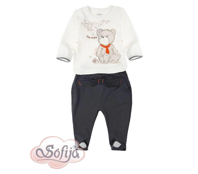 2-Delige babykledingset  - Beertje met vliegtuig