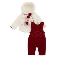 2-Delige velours baby winter set - Beertje van zacht fluweel