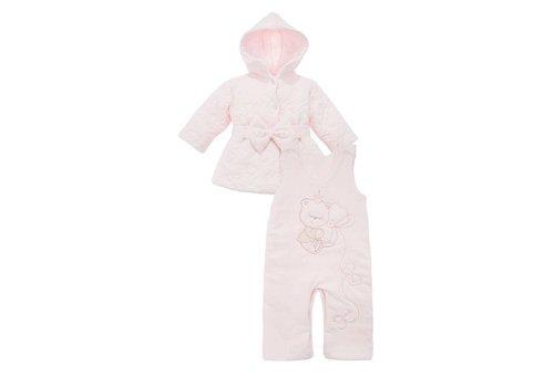 2-Delige baby winter set - Beertje met Vlinders - roze