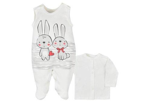2-Delige babykleding set - Bunnies - ecru