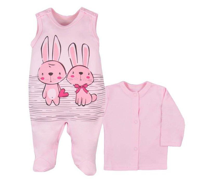 2-Delige babykleding set - Bunnies - roze