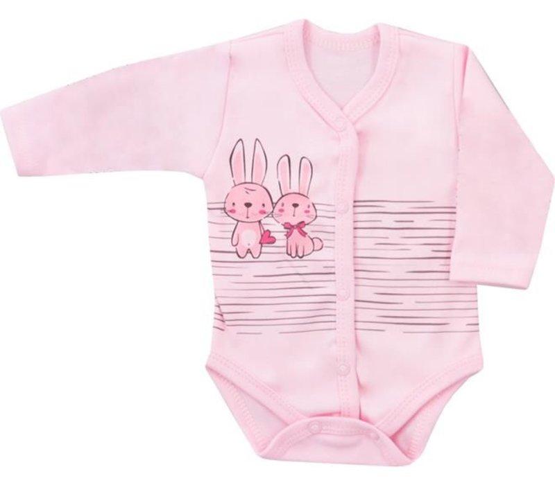 Romper met lange mouw - Bunnies - roze