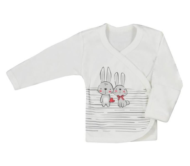 Baby overslag shirt - Bunnies - ecru