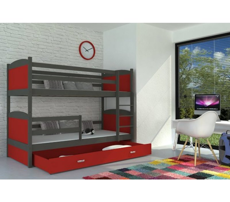 Stapelbed Michael - grijs-rood