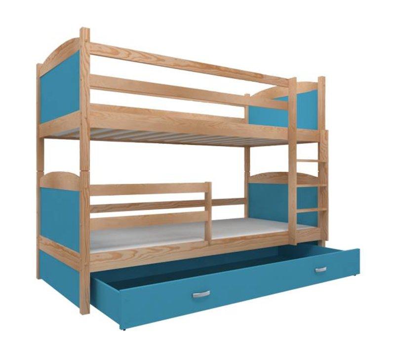 Stapelbed Michael - pine-blauw