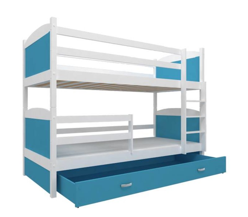 Stapelbed Michael - wit-blauw