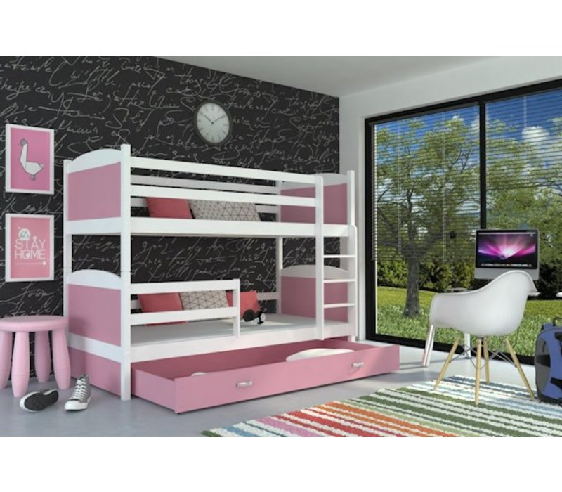 Stapelbed Michael - wit-roze