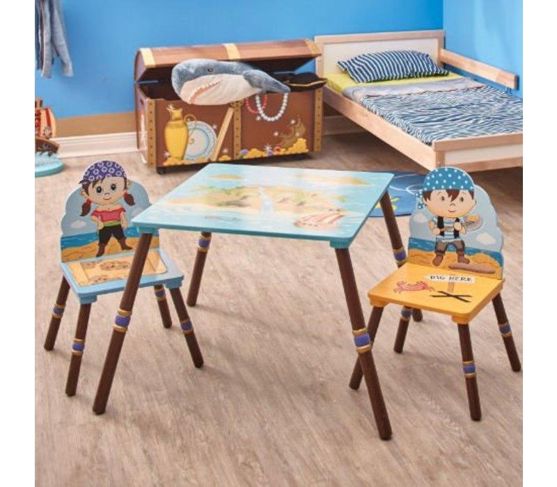 Tafeltje + 2 stoeltjes - Piraten Eiland