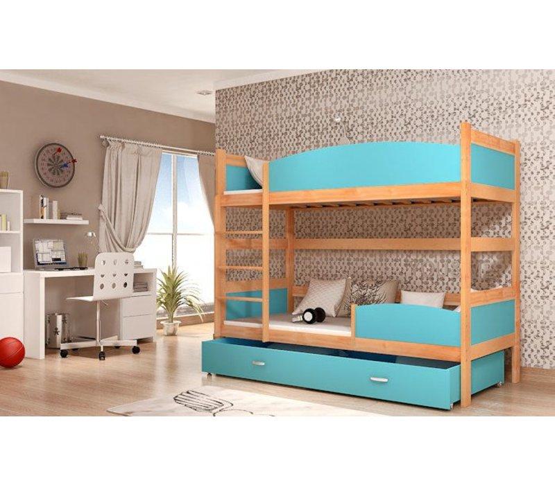 Stapelbed Tina - els-blauw - incl. 2 gratis matrassen