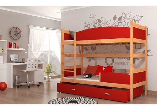 Stapelbed Tina - els-rood - incl. 2 gratis matrassen