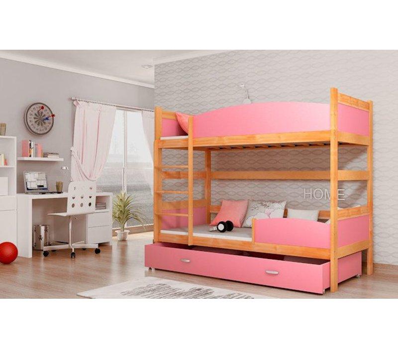 Stapelbed Tina - els-roze - incl. 2 gratis matrassen