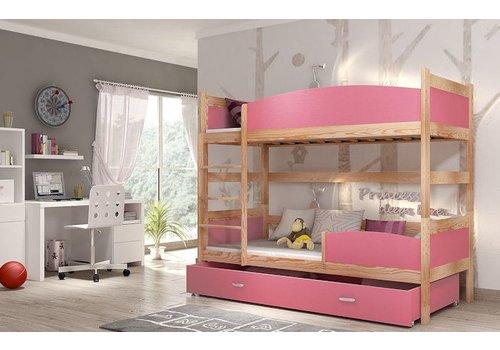 Stapelbed Tina - grenen-roze - incl. 2 gratis matrassen