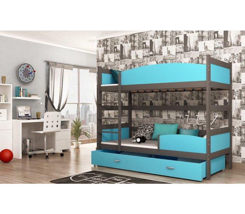 Stapelbed Tina - grijs-blauw - incl. 2 gratis matrassen