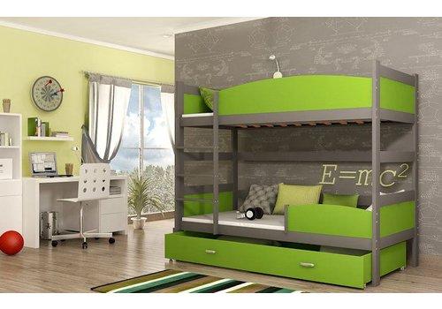 Stapelbed Tina - grijs-groen - incl. 2 gratis matrassen