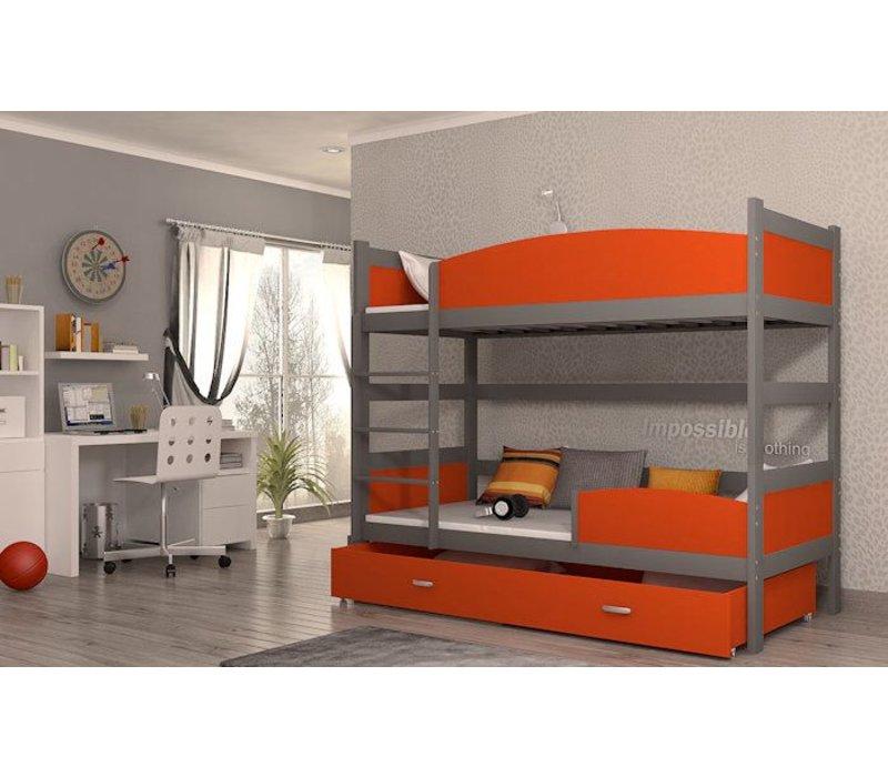 Stapelbed Tina - grijs-oranje - incl. 2 gratis matrassen
