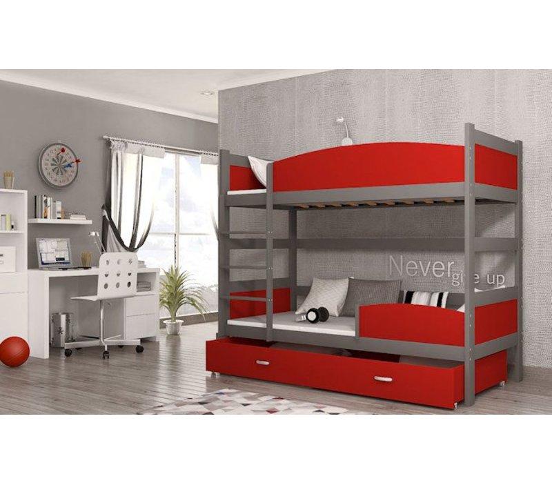 Stapelbed Tina - grijs-rood - incl. 2 gratis matrassen