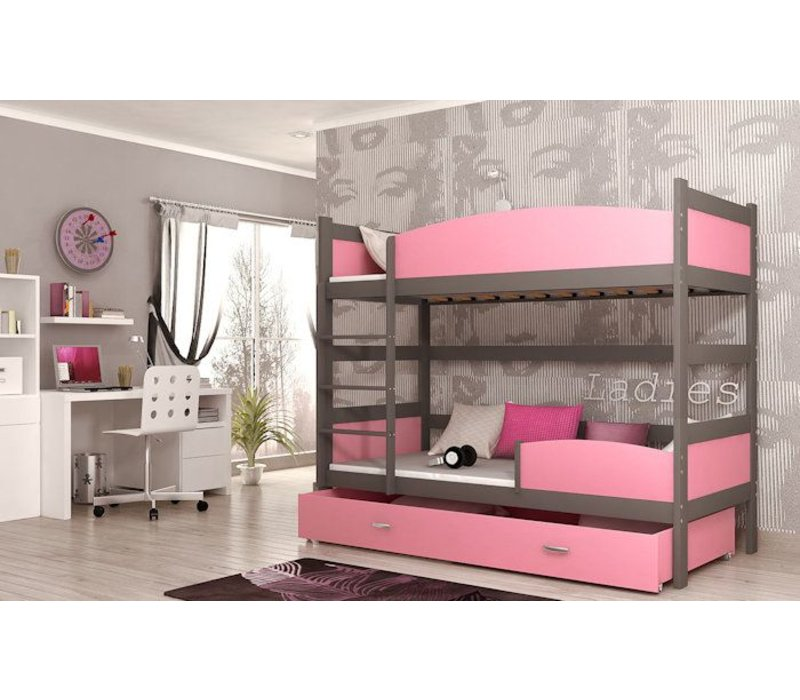 Stapelbed Tina - grijs-roze - incl. 2 gratis matrassen