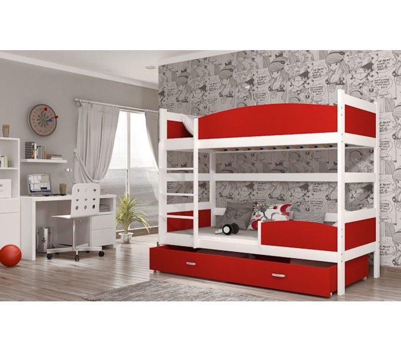 Stapelbed Tina - wit-rood - incl. 2 gratis matrassen
