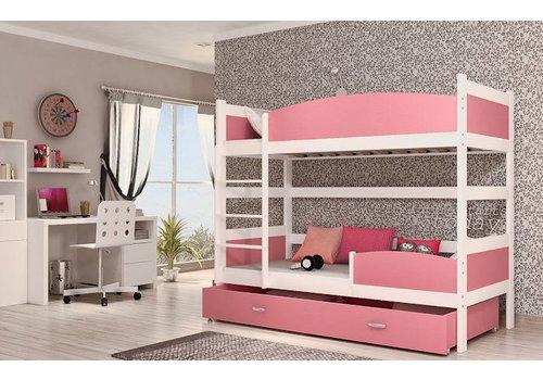 Stapelbed Tina - wit-roze - incl. 2 gratis matrassen