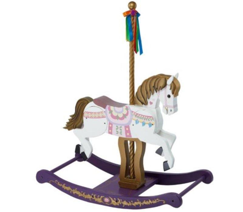 Houten Carousel paard - Merry go Round - wit-paars