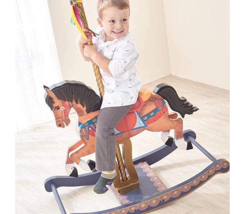 Houten Carousel paard - Merry go Round - bruin