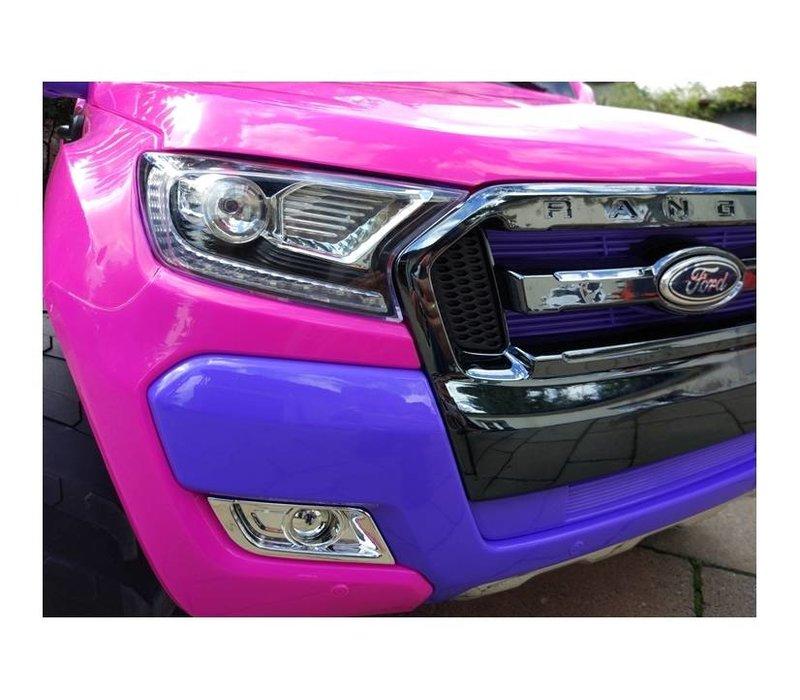Elektrische kinderauto 4x4 Drive, 2 lederen stoelen, EVA Wheels, 2.4G RC, Radio Panel - roze