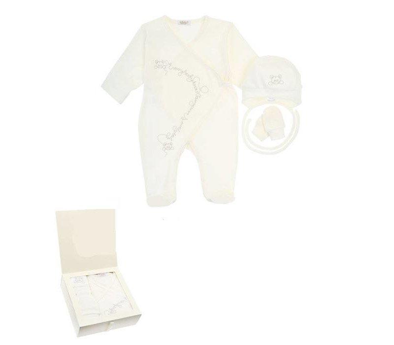 3-Delige babykleding geschenkset  - Berti - ecru