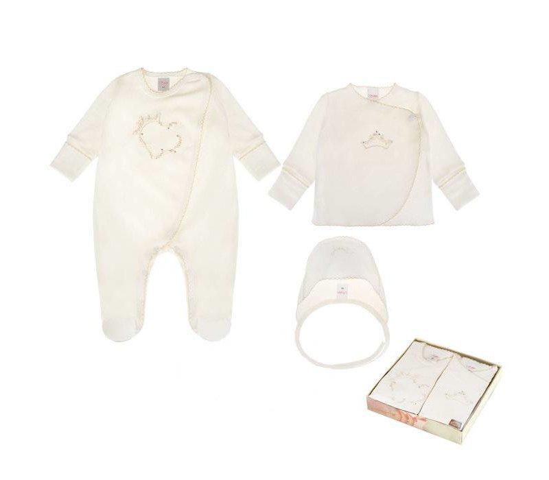 3-Delige babykleding geschenkset  - Celeste - ecru
