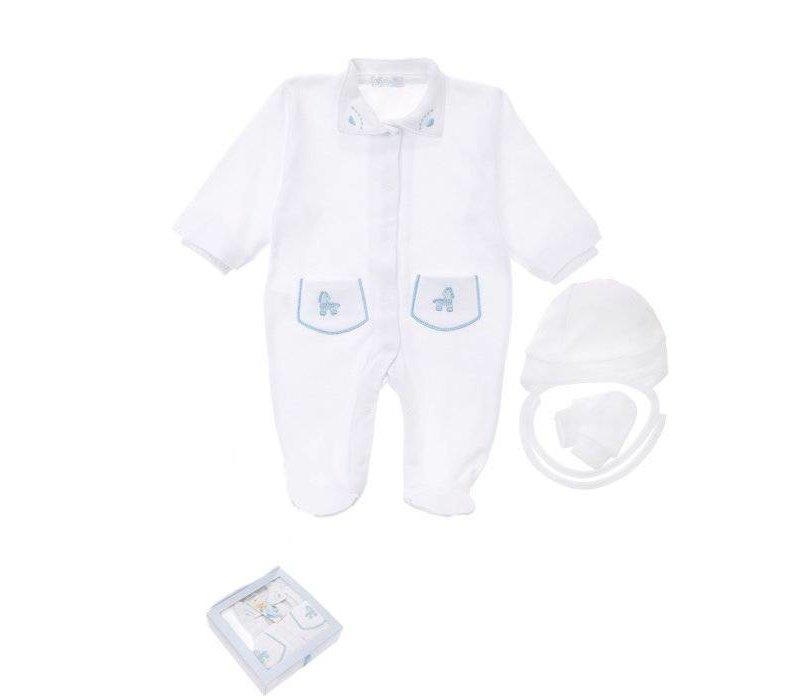 3-Delige babykleding geschenkset  - Supreme - wit-blauw