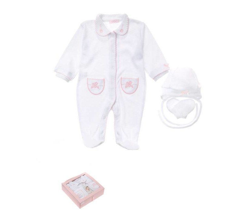 3-Delige babykleding geschenkset  - Supreme - wit-roze