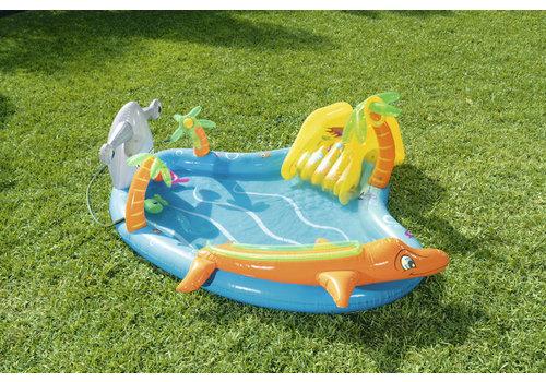 Opblaasbaar Playcenter met glijbaan en watersproeier