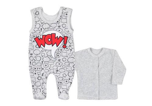2-delige velours babykleding set Wow - grijs