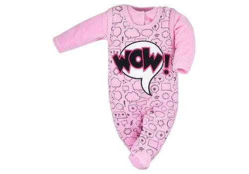 2-delige velours babykleding set Wow - roze