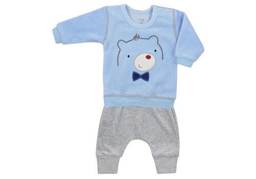 2-delige velours babykleding set Baloo - blauw