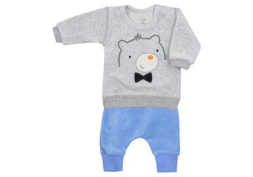 2-delige velours babykleding set Baloo - blauw-grijs