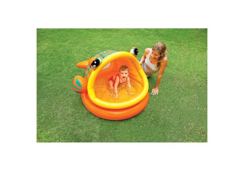 Opblaasbaar speelzwembad in vis vorm - oranje