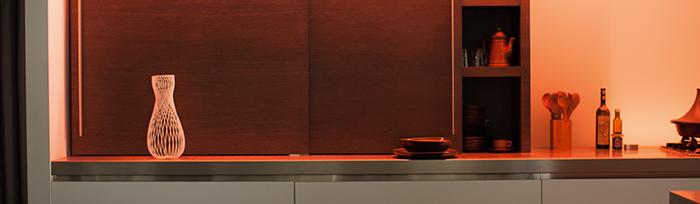 philips hue verlichting verwerkt in keuken