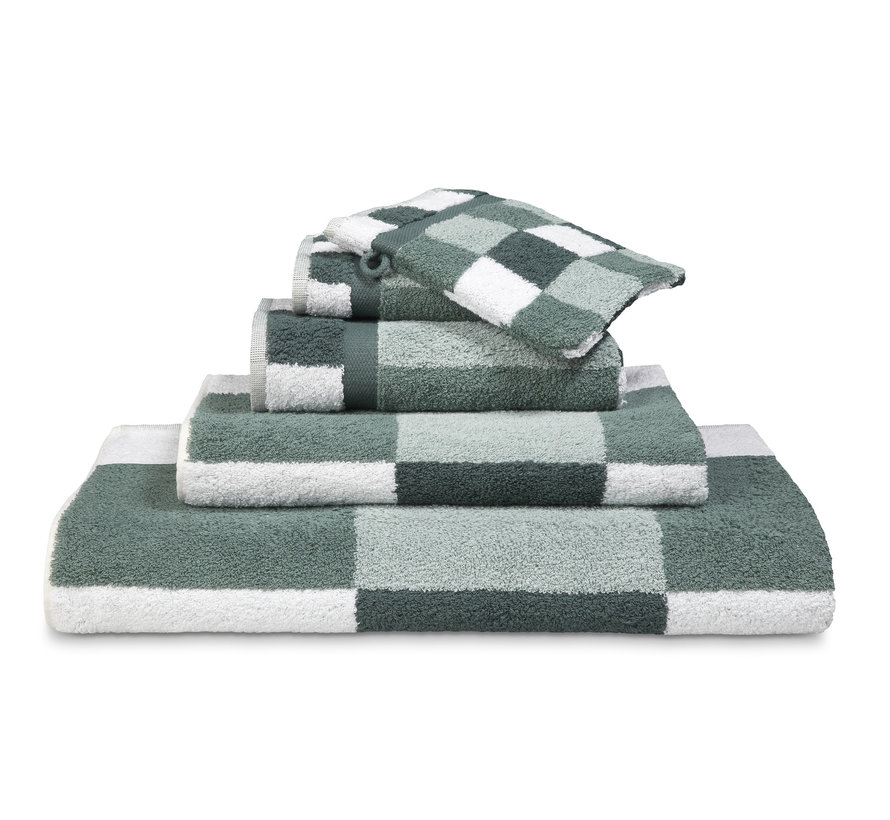 BOSTON bath linen Earth Green (CO020) block motif