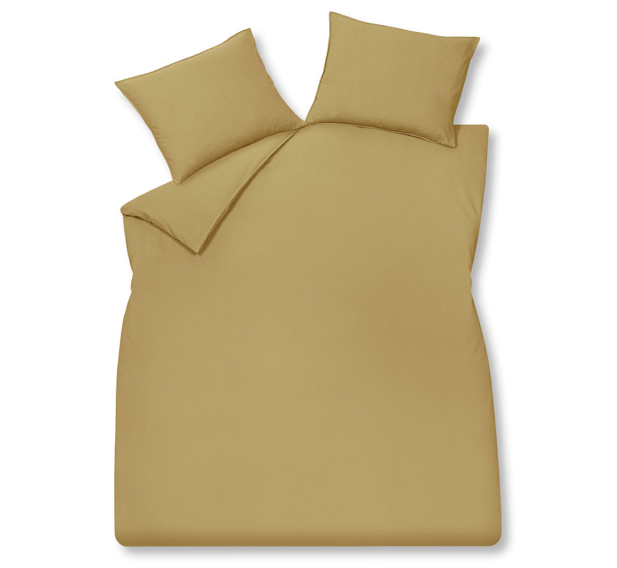 WASHED COTTON dekbedovertrek 240x220 cm Honey Gold (katoen)