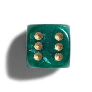 parelmoer groen dobbelstenen 12mm 36st.