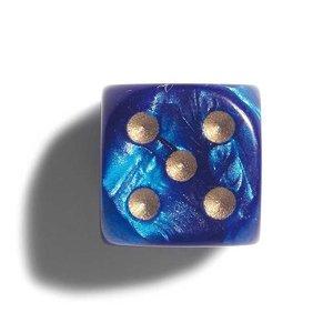 Philos parelmoer blauw dobbelstenen 12mm 36st.