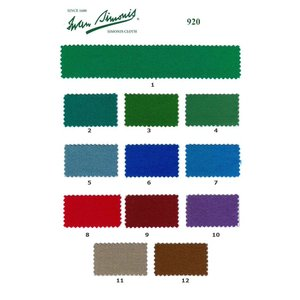 Pool table cloth Simonis 920 various colors. per 10 cm 165 cm wide