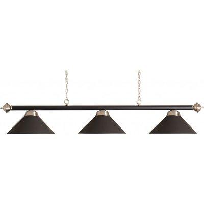 billiard lamp bar with 3 caps matt black